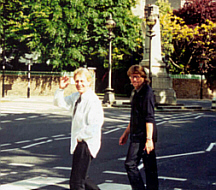Carl and former Move colleague Bev Bevan crossing the famous Abbey Road Zebra